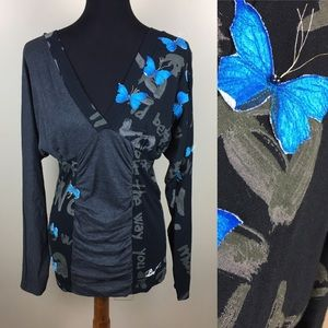 Desigual long sleeve butterfly 🦋 blouse size M